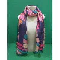 Pañuelo 100% seda estampado pavo real