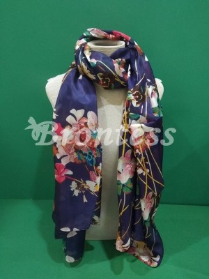 Pañuelo 100% seda estampado flores