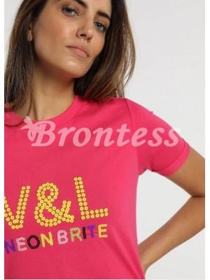 Camiseta fucsia lentejuela Victorio Lucchino