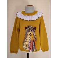 Jersey niña mostaza perro lana
