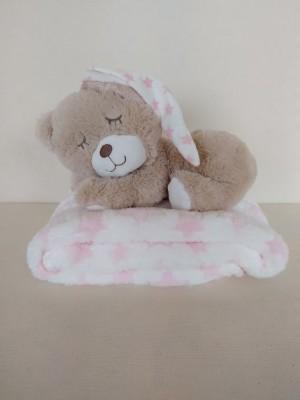 Oso peluche y manta estrellas rosa personalizable