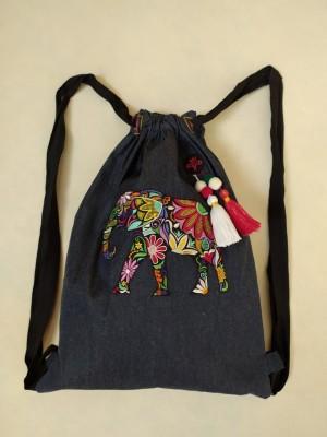 Mochila vaquera bordada elefante mandala personalizable