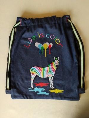 Mochila vaquera cebra de colores life is color