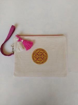 Bolso de mano algodón marfil bordado dorado