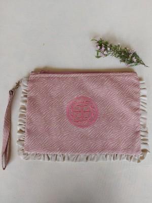 Bolso de mano animal print bordado rosa