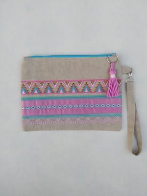 Bolso de mano boho turquesa rosa