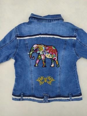 Cazadora chaqueta  vaquera bordado elefante boho chic