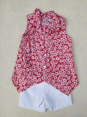 Conjunto short blanco blusa estampada Amelia Alhuka