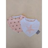 Pack 2 baberos estrellas rosa personalizables con bordado