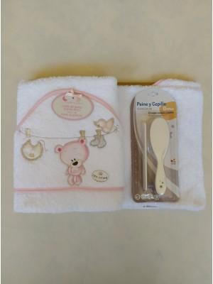 Capa de baño osito tendedero + cepillo y peine personalizable