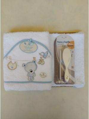 Capa de baño osito tendedero azul + cepillo y peine