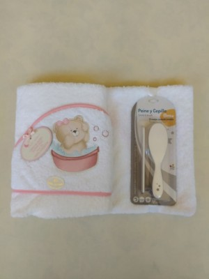 Set toalla osito bañera + peine y cepillo