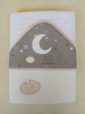Capa de baño luna ribete rosa personalizable