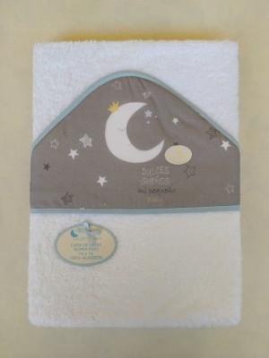 Capa de baño luna ribete azul personalizable