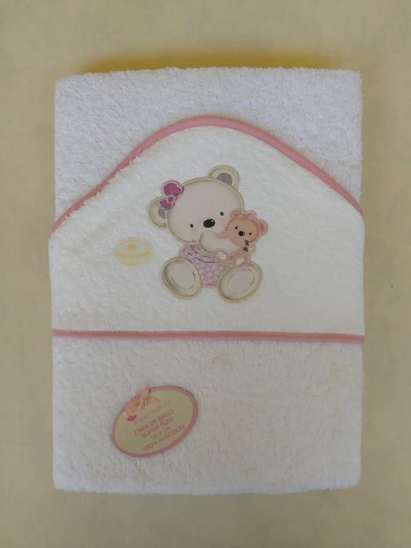 Capa de baño osito rosa personalizable con nombre
