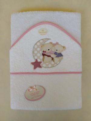 Capa de baño ositos amorosos ribete rosa
