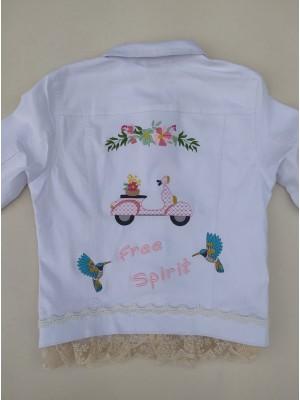 Chaqueta blanca mujer moto vespa free spirit