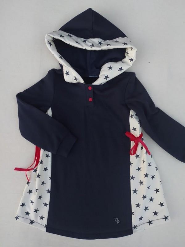 Vestido felpa azul estrellas capucha Nekenia