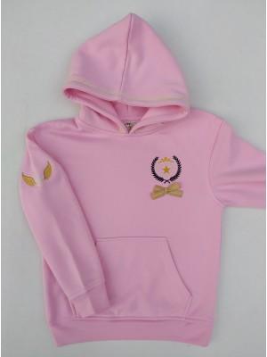 Sudadera rosa capucha escudo estrella Ana Leza