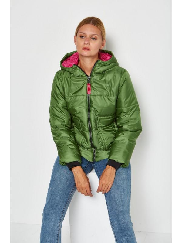 Parka mujer verde rosa corta