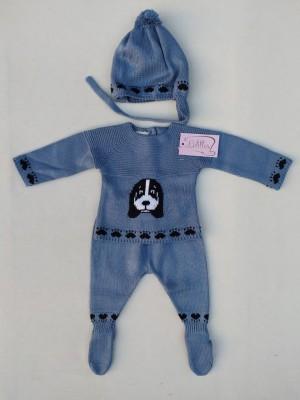 Conjunto bebe teckel azul Lolittos