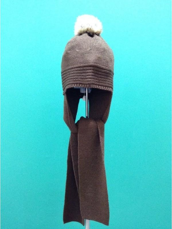 76c06227 Gorro con bufanda marron pompon pelo natural modelo 1894 Foque