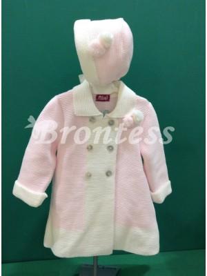 Conjunto abrigo capota punto rosa Nini